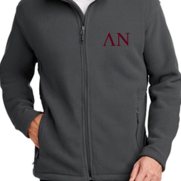 Lambda Nu Dark Grey Fleece Zippered Jacket